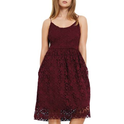 hush Wine Red Skylar Lace Dress