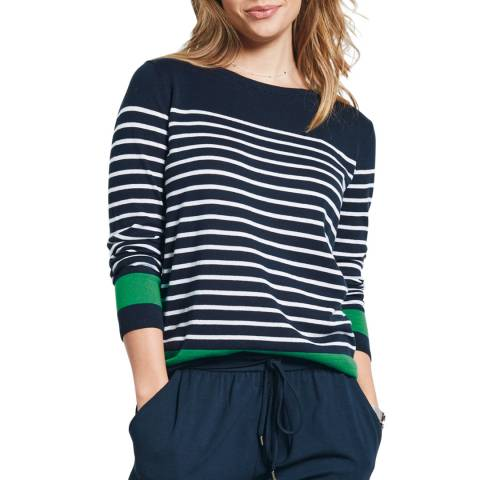 hush Midnight/White/Green Brigette Striped Jumper