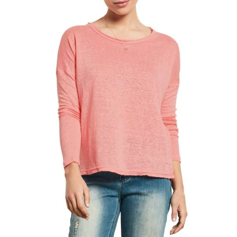 hush Coral Long Sleeve Raw Edge T-Shirt
