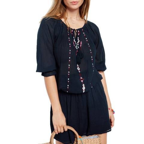 hush Midnight Blue Goa Embroidered Dress
