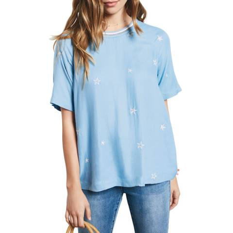Hush Baby Blue All Star Embroidered Top