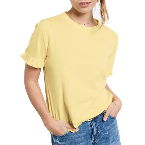 hush Yellow Frill Sleeve Jersey T-Shirt