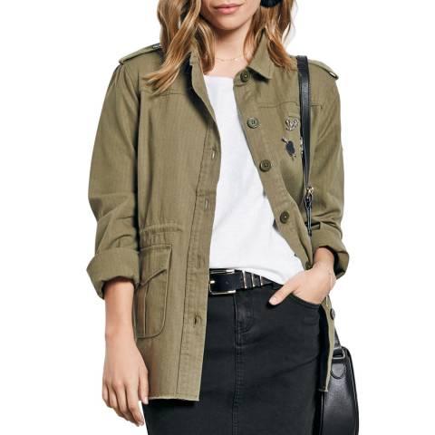 hush Khaki Longline Cotton Military Jacket
