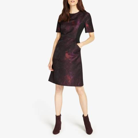 Phase Eight Black/Purple Rhona Dress