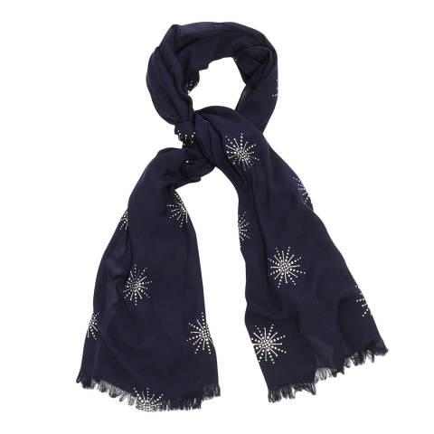 Phase Eight Navy Star Print Scarf