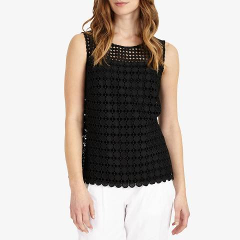 Phase Eight Black Alba Lace Top