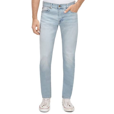 7 For All Mankind Blue Distressed Larry Slim Stretch Jeans