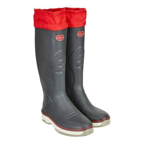 Le Chameau Men's Grey/Red Neo Alize Ardoise Boots