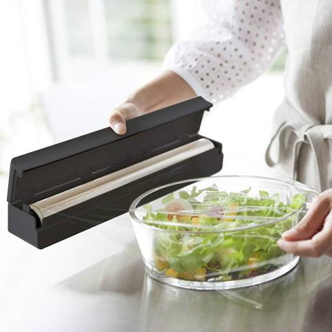 Yamazaki Black Magnetic Kitchen Wrap Case