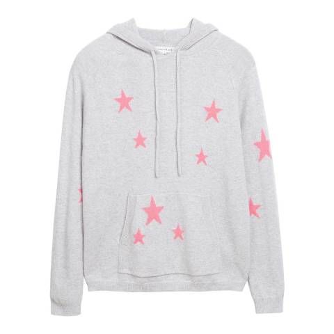 Chinti and Parker Silver Marl/Pink Cashmere Star Hoodie