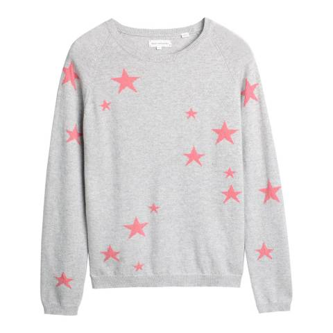 Chinti and Parker Silver Marl/Pink Cashmere Star Sweater