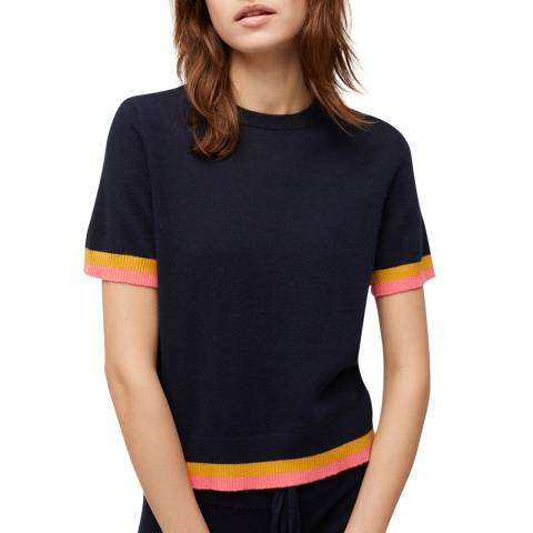 Chinti and Parker Navy/Mustard/Cocktail Cashmere Stripe Trim T-Shirt