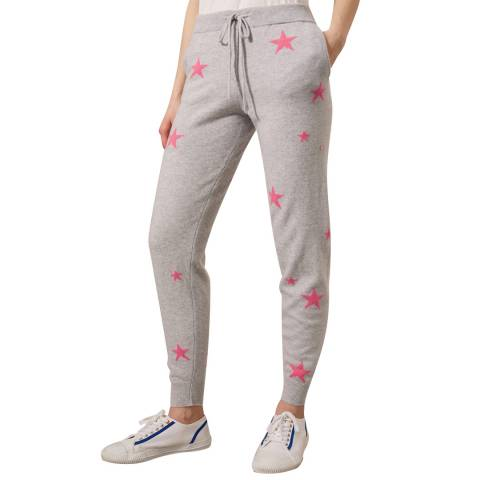 Chinti and Parker Silver Marl/Pink Cashmere Star Track Pant