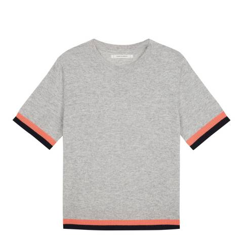 Chinti and Parker Silver/Cocktail/Navy Stripe Trim Cashmere T-Shirt