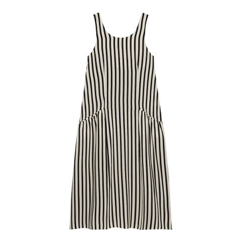 Chinti and Parker Buttermilk/Black Silk Stripe Sundress