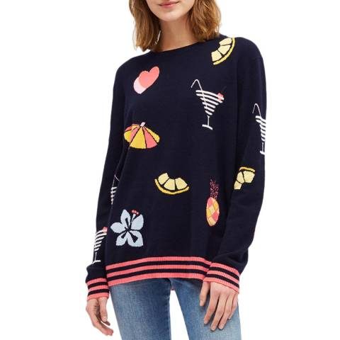 Chinti and Parker Navy/Multi Cashmere Summer Sweater