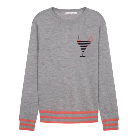 Chinti and Parker Silver Marl/Multi Cashmere Cocktail Logo Sweater