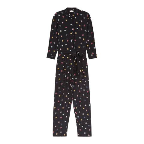 Chinti and Parker Black/Multi Silk Star Jumpsuit