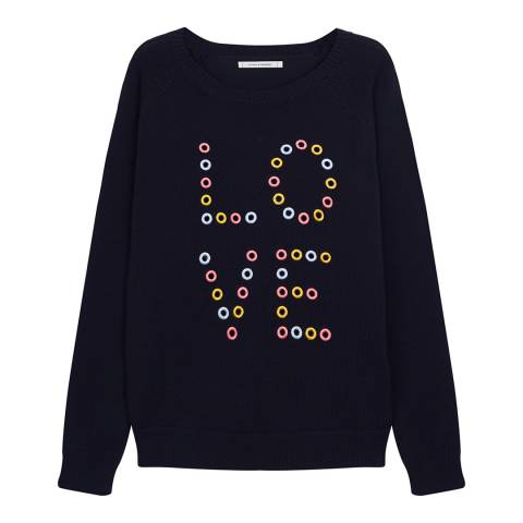 Chinti and Parker Navy Cut Out Love Jumper