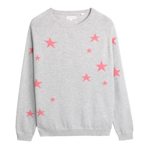 Chinti and Parker Silver Marl/Pink Cashmere Slouchy Star Jumper