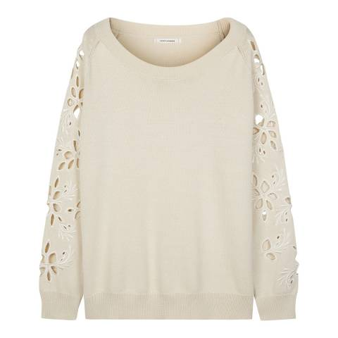 Chinti and Parker Buttermilk Flower Cut Out Sweater