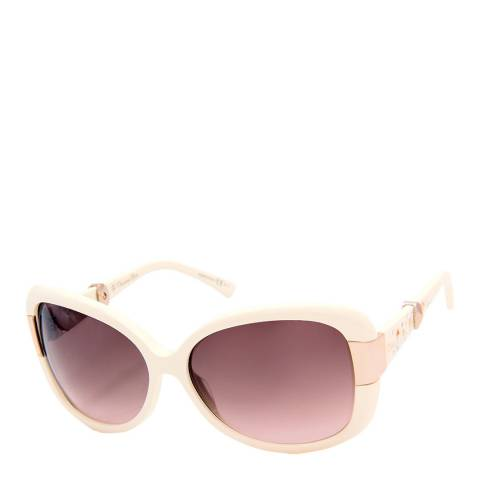 Christian Dior Women's Christian Dior Ivory with gold hinges and arm detail / Graduated Brown Sunglasses