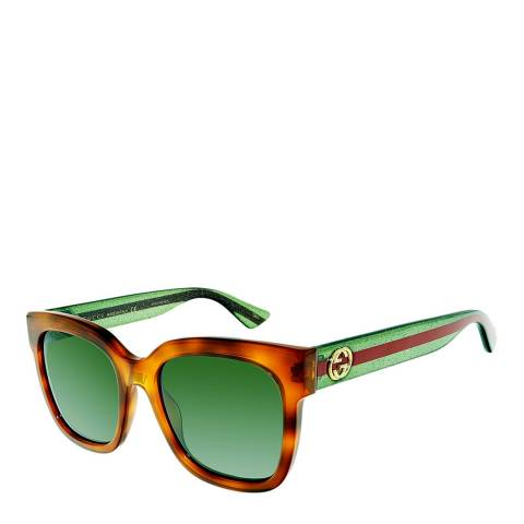 Gucci Women's Brown and Green Sunglasses 54mm
