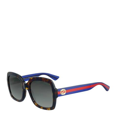 Gucci Women's Havana with Red and Blue Stripes Sunglasses 54mm