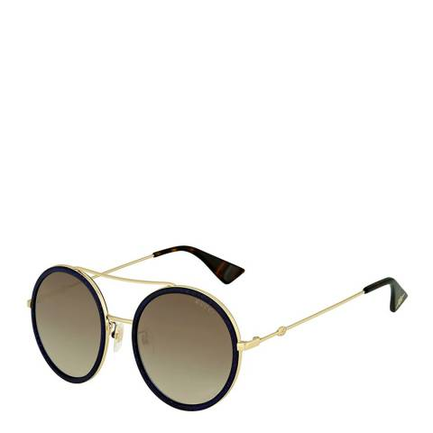 Gucci Women's Gold and Blue Crystal Glitter Sunglasses