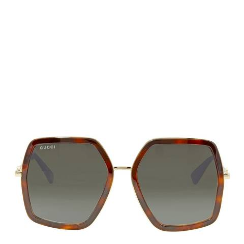 Gucci Women's Havana and Gold Sunglasses 55mm