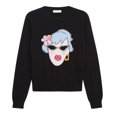 Chinti and Parker Black/Multi Cashmere Maud Crop Sweater