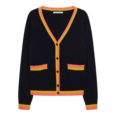 Chinti and Parker Navy/Mustard/Cocktail Cashmere Stripe Trim Cardigan