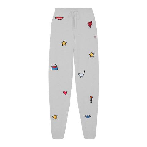 Chinti and Parker Silver Marl/Multi Cashmere Lolita Purse Track Pant