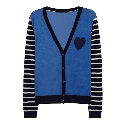 Chinti and Parker Navy Cashmere Breton Sleeve Cardigan