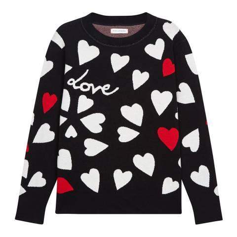 Chinti and Parker Black/Cream/Poppy All Over Confetti Heart Jumper