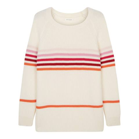 Chinti and Parker Cream/Multi Ribbed Stripe Sweater