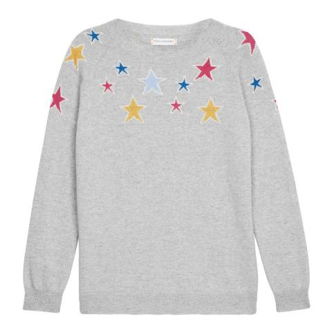 Chinti and Parker Grey Marl/Multi Cashmere Stardust Sweater