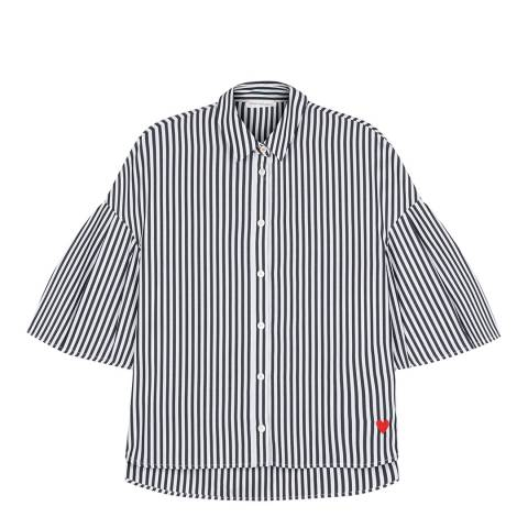 Chinti and Parker Black/White Fluted Sleeve Shirt