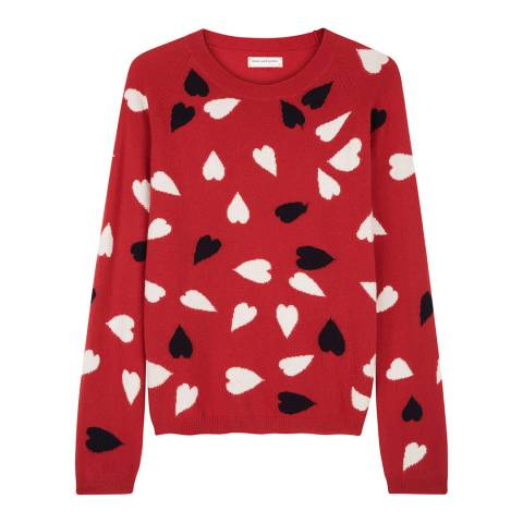 Chinti and Parker Poppy/Navy/Cream Confetti Heart Sweater