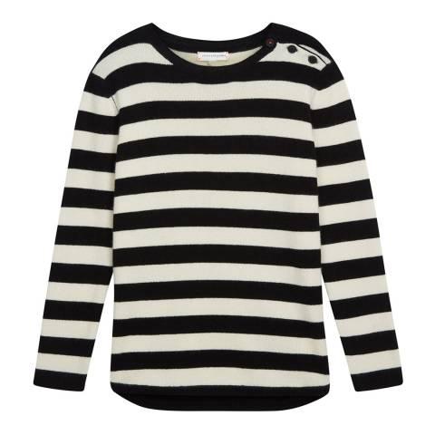 Chinti and Parker Black/Cream Cashmere Stripe Sweater