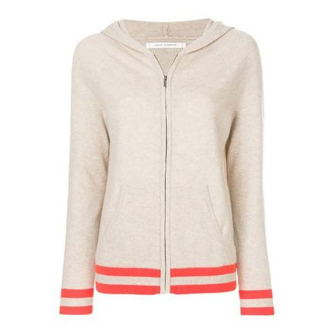 Chinti and Parker Oatmeal/Fluoro Orange Cashmere Stripe Trim Hoodie