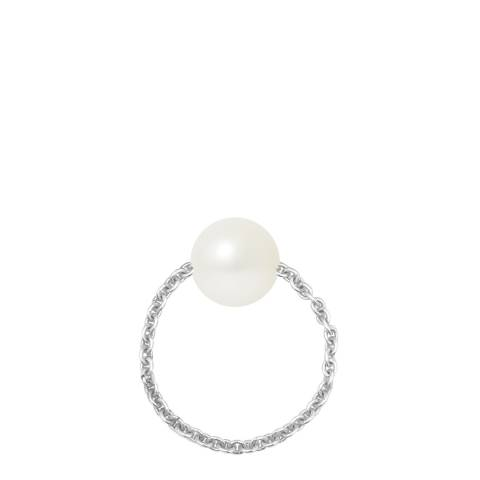 Mitzuko Silver/White Cultured Tahiti Pearl Ring Chain