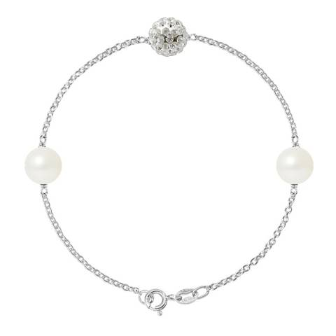Mitzuko White/Silver Two Real Cultured Freshwater Pearl Bracelet