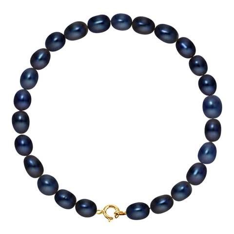 Mitzuko Black/Yellow Gold  Freshwater Pearl Grain Rice Bracelet