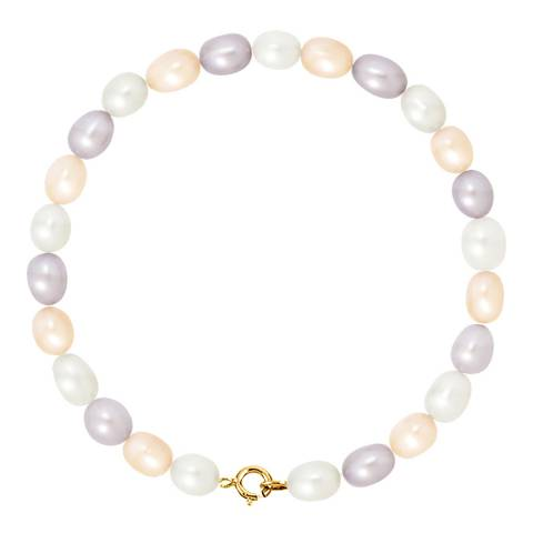 Mitzuko Multi/Yellow Gold  Freshwater Pearl Grain Rice Bracelet