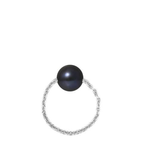 Mitzuko Black/Silver Cultured Tahiti Pearl Ring Chain