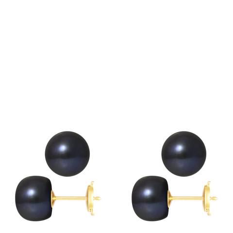 Mitzuko Black/Yellow Gold Real Freshwater Pearl Earrings