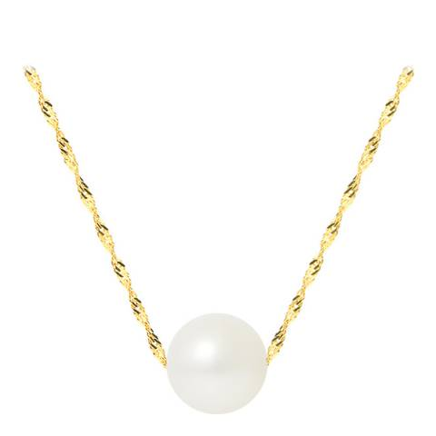 Mitzuko White/ Yellow Gold Real Cultured Freshwater Pearl Necklace