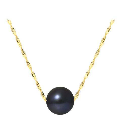 Mitzuko Black/ Yellow Gold Real Cultured Freshwater Pearl Necklace