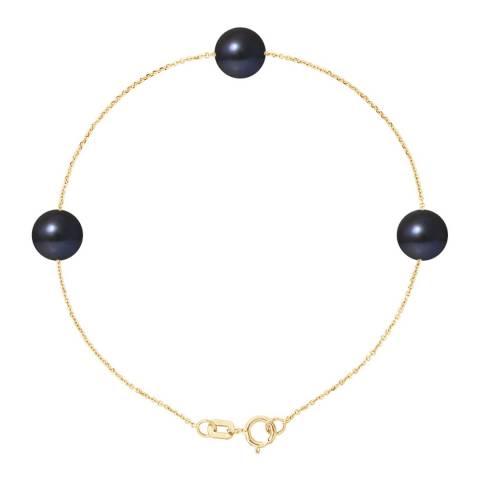 Mitzuko Natural Black Yellow Gold Freshwater Pearl Bracelet